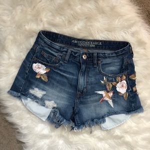 American Eagle Outfitters Shorts - American Eagle Embroidered High Rise Short Shorts